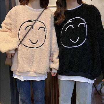 Modakawa Sweatshirt Smile Face Fake Two-Piece Loose Sweatshirt