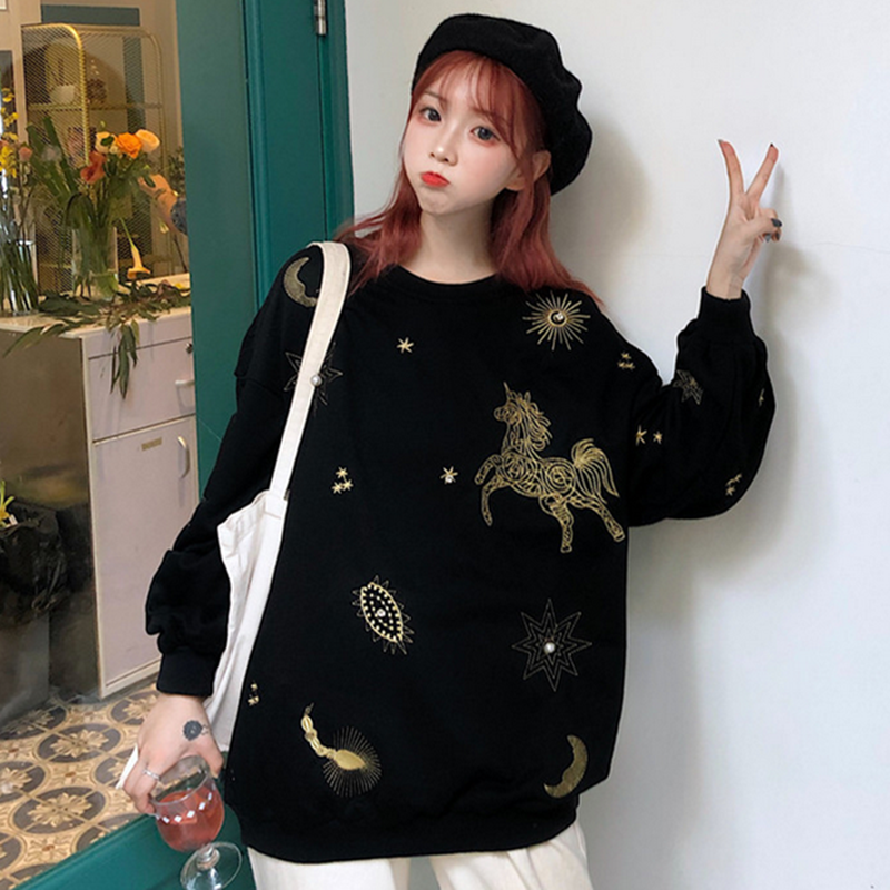 Modakawa Sweatshirt Star Moon Horse Embroidery Sweatshirt Loose