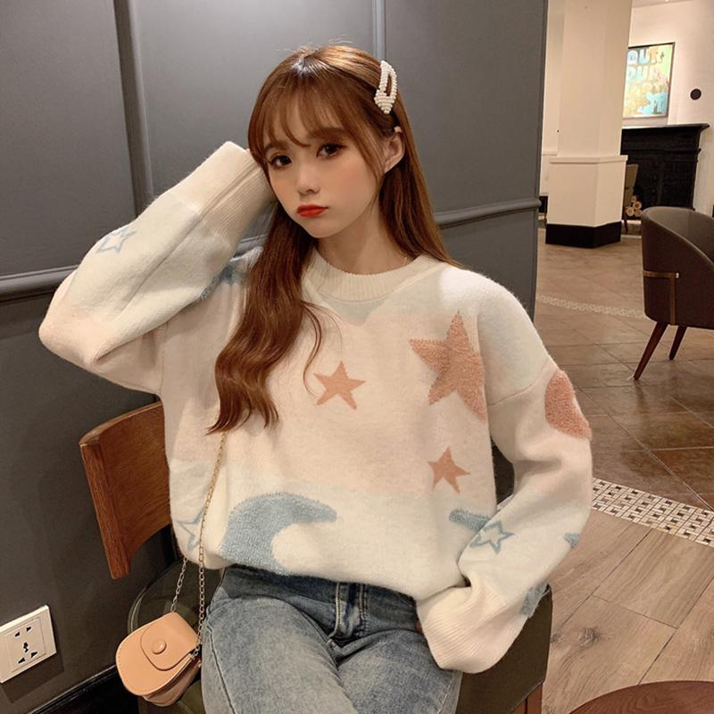 Modakawa Sweatshirt Star Moon Loose Sweater