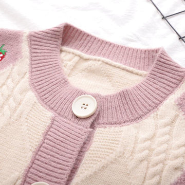 Modakawa Sweatshirt Strawberry Embroidery Button Knitted Cardigan