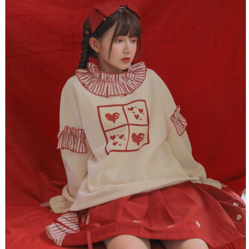 Modakawa Sweatshirt Sweet Love Heart Ruffle Sweatshirt