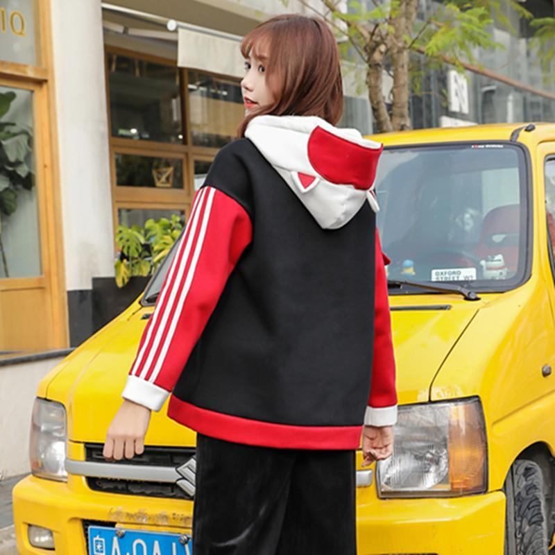 Modakawa Sweatshirt TOKYO Letter Fox Embroidery Ears Button Pocket Hoodie Color Block