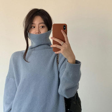 Modakawa Sweatshirt Turtleneck Pure Color Loose Knitted Sweater