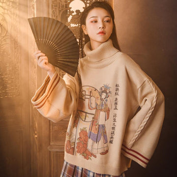 Modakawa Sweatshirt Vintage Turtleneck Loose Knitted Sweater