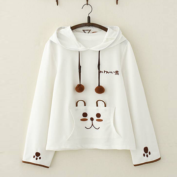 Modakawa Sweatshirt White Bear Paw Embroidery Cotton Hoodie