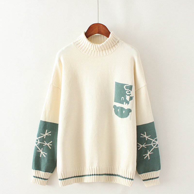 Modakawa Sweatshirt White Bear Snowflake Pattern Sweater High Collar