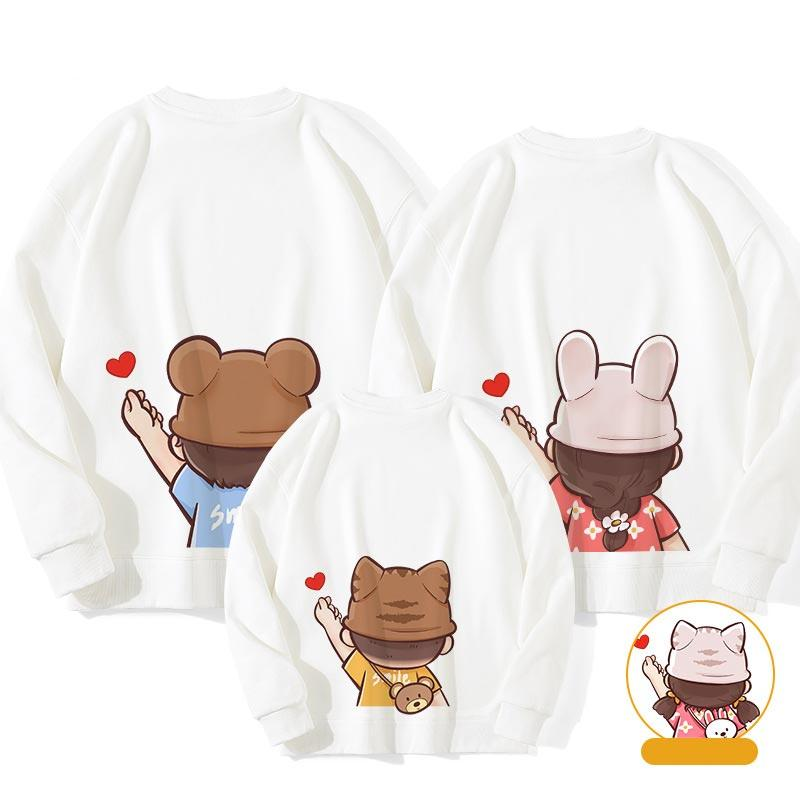Modakawa Sweatshirt White / Boy: 130 Letter Love Heart Print Family Matching Sweatshirts