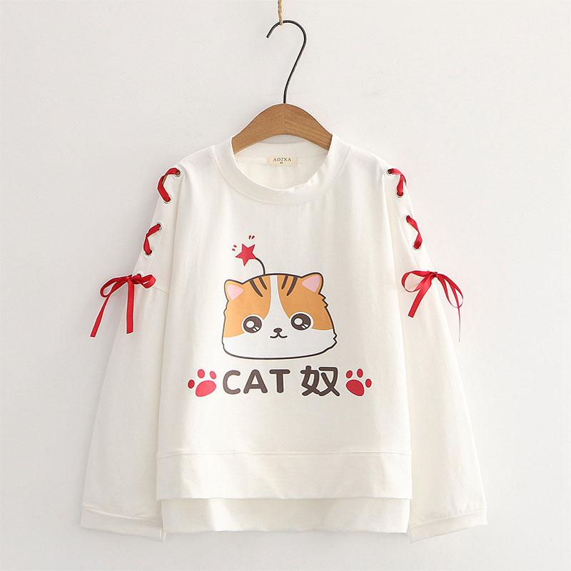 Modakawa Sweatshirt White Cartoon Cat Star Print Lace Up Bow Sleeves Sweatshirt