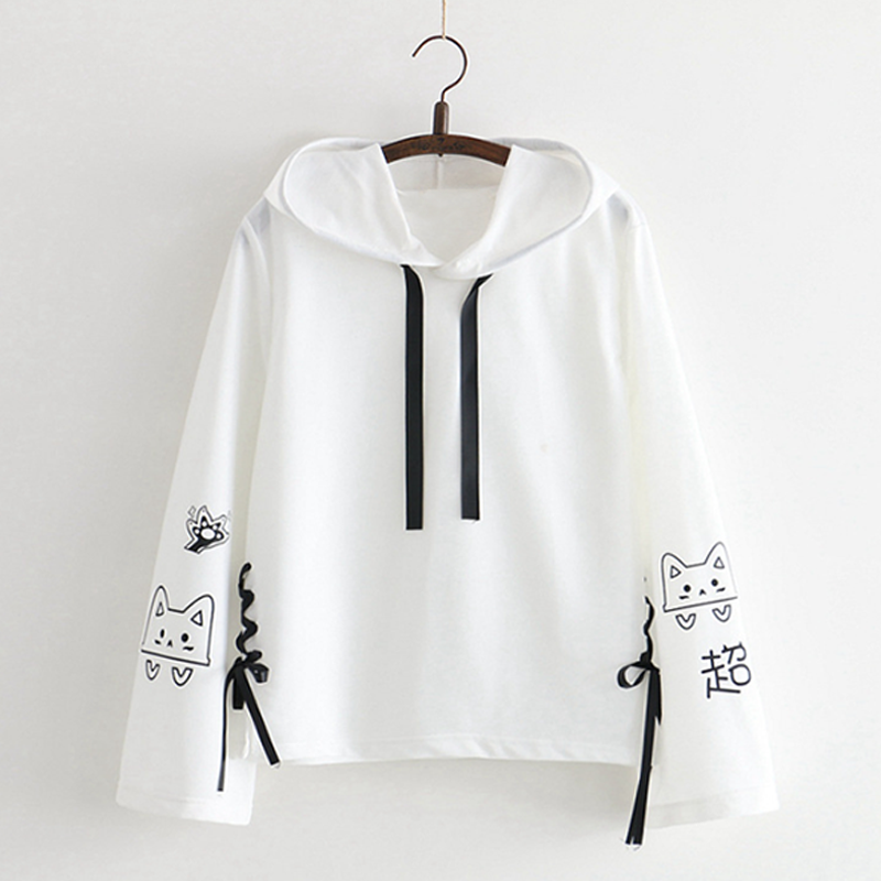 Modakawa Sweatshirt White Cat Bow-knot Long Sleeves Sweatshirt
