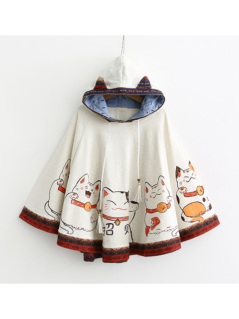 Modakawa Sweatshirt White Fortune Cat Bat Sleeve Cloak