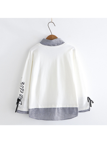 Modakawa Sweatshirt White Kawaii Sunshine Stripe One-Piece Sweatshirt