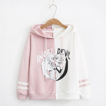 Modakawa Sweatshirt White / M Angel Devil Japanese Cartoon Hoodie Color Block