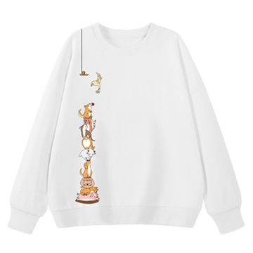 Modakawa Sweatshirt White / M Animal Cartoon Print Round Neck Sweatshirt