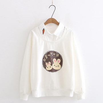 Modakawa Sweatshirt White / M Bunny Carrot Fake Two-Piece Shirt Sweatshirt