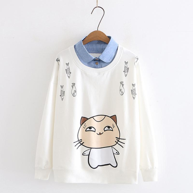 Modakawa Sweatshirt White / M Cat Fish Print Fake Two-Piece Sweatshirt
