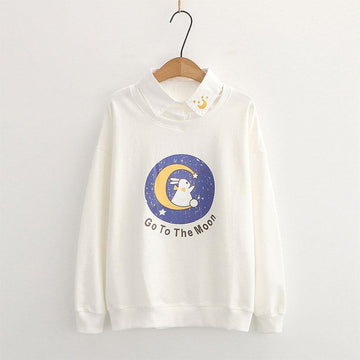 Modakawa Sweatshirt White / M Collar Bunny GO TO THE MOON Letter Print Moon Embroidery Sweatshirt