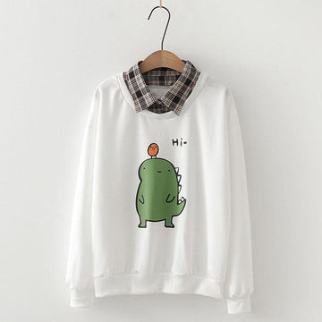 Modakawa Sweatshirt White / M Dinosaur Cartoon Plaid Collar One-Piece Sweatshirt