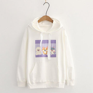 Modakawa Sweatshirt White / M Drop Shoulder Cartoon Animal Print Pocket Hoodie Sweatshirt