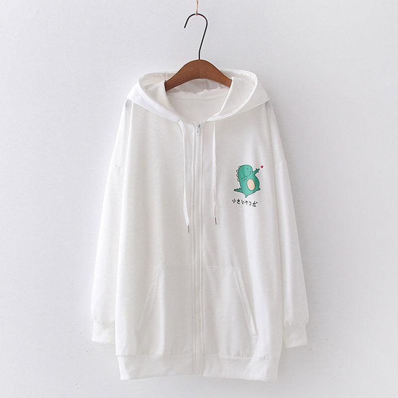 Modakawa Sweatshirt White / M Drop Shoulder Zipper Dinosaur Print Hoodie Pocket Sweatshirt