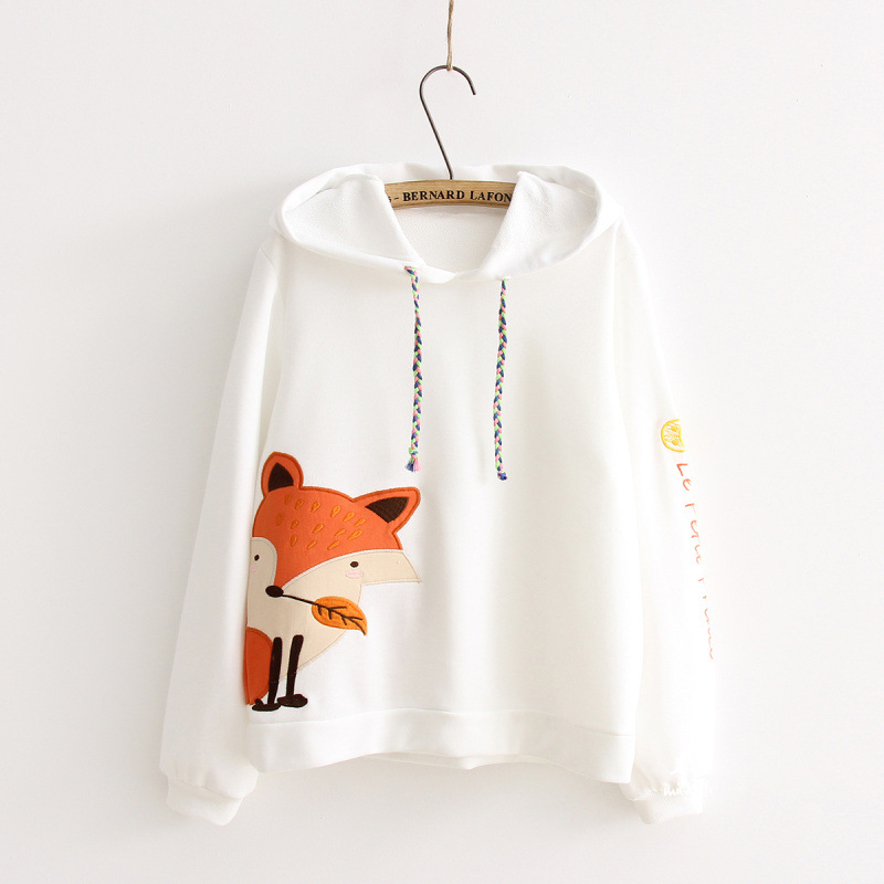 Modakawa Sweatshirt White / M Fox Print Long Sleeve Hoodie