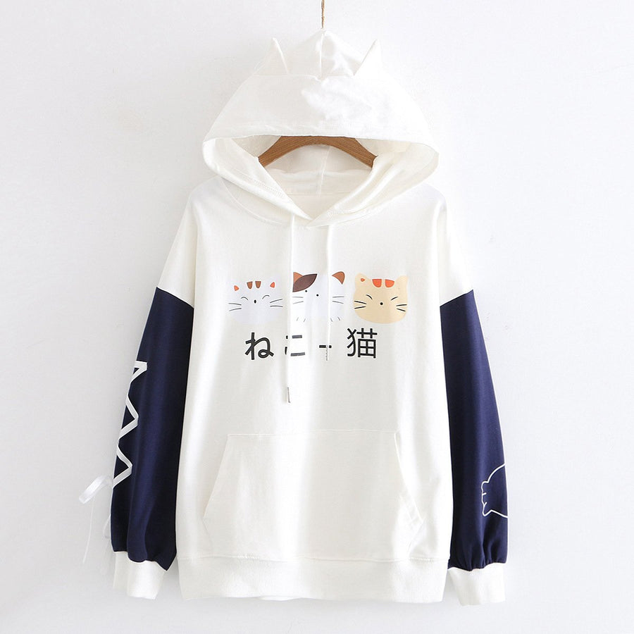 Modakawa Sweatshirt White / M Japanese Cat Ears Color Block Hoodie