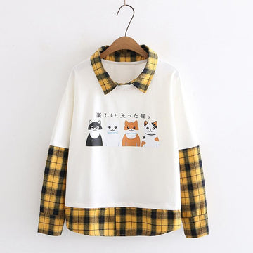 Modakawa Sweatshirt White / M Japanese Cat Plaid Fake Two-Piece Sweatshirt