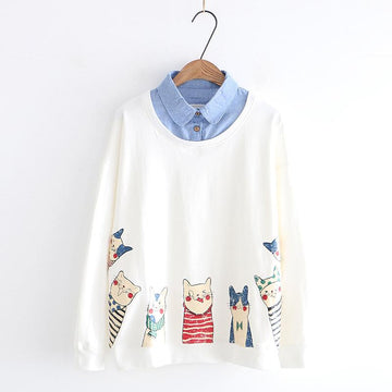 Modakawa Sweatshirt White / M Kitty Cartoon Print Fake Two-Piece Sweatshirt