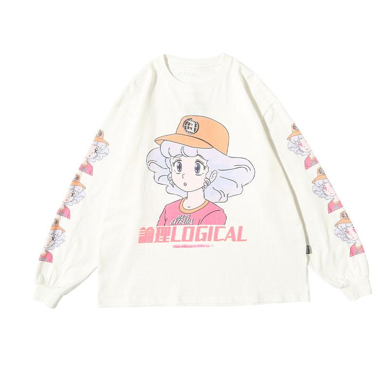 Modakawa Sweatshirt White / M LOGICAL Cartoon Girl Print Oversized Sweatshirt