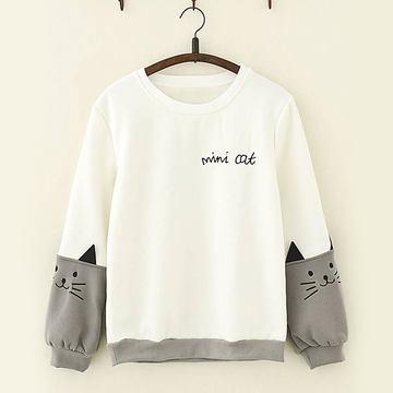 Modakawa Sweatshirt White / M Lovely Cat Print Sleeves Sweatshirt