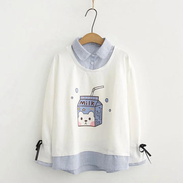 Modakawa Sweatshirt White / M Milk Box Print Stripe Fake Two-Piece Sweatshirt
