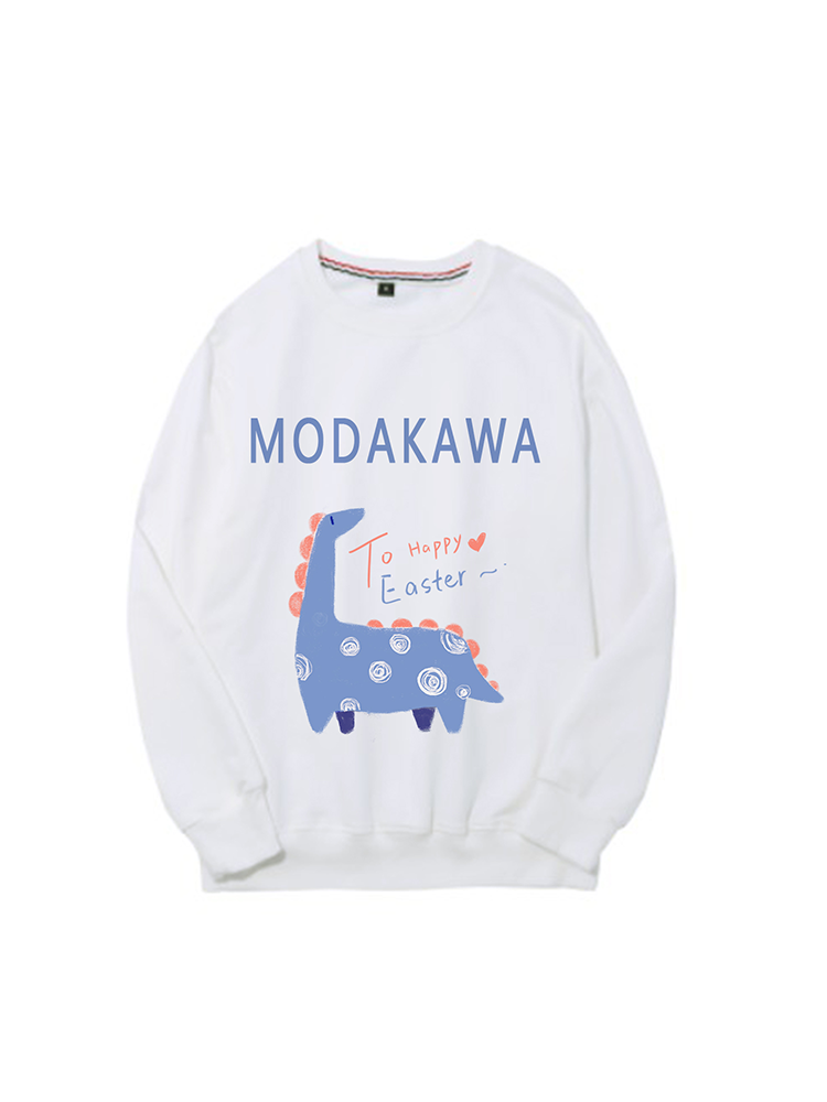 Modakawa Sweatshirt White / M Modakawa Anniversary Limited Edition Sweatshirt : Happy Easter!(Blue Dinosaur)