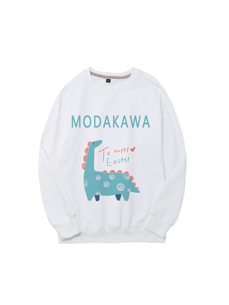 Modakawa Sweatshirt White / M Modakawa Anniversary Limited Edition Sweatshirt : Happy Easter!(Green Dinosaur)