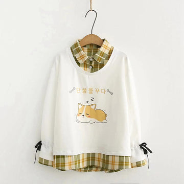 Modakawa Sweatshirt White / M Puppy Print Plaid Fake Two-Piece Sweatshirt