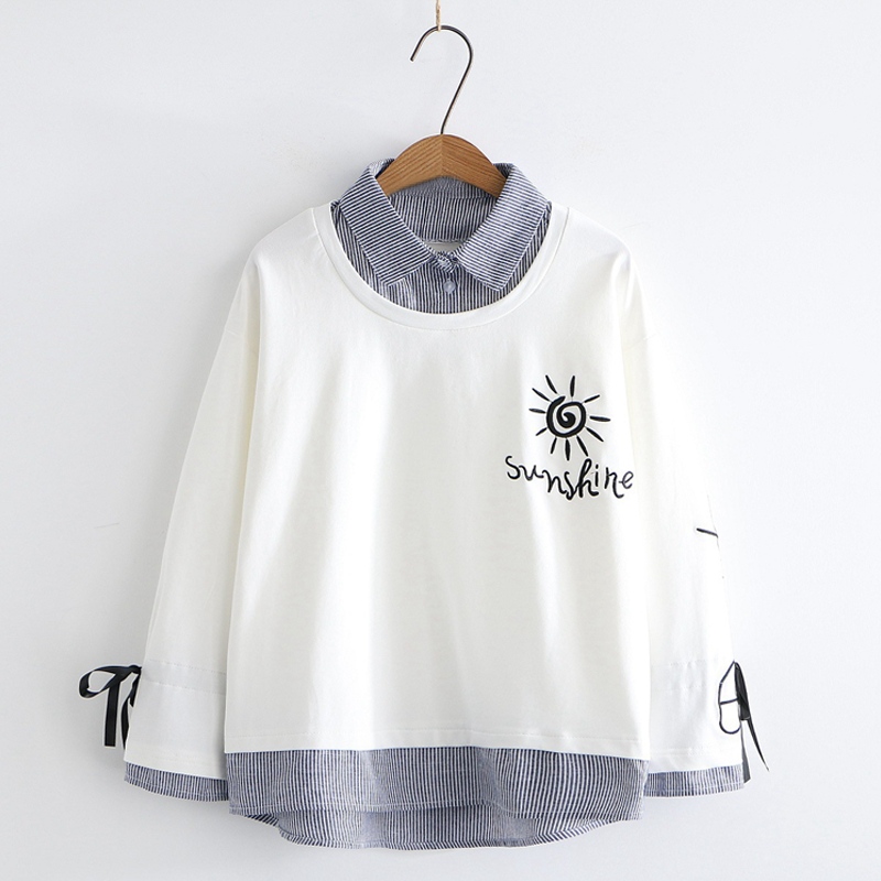 Modakawa Sweatshirt White / M Sunshine Embroidery Bowknot Sleeves One-Piece Sweatshirt
