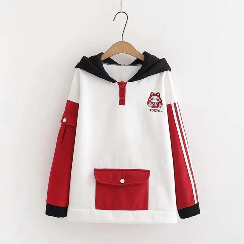 Modakawa Sweatshirt White / M TOKYO Letter Fox Embroidery Ears Button Pocket Hoodie Color Block