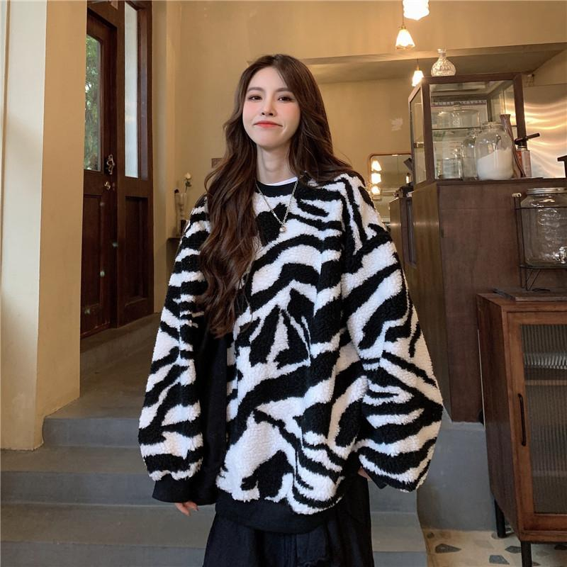 Modakawa Sweatshirt White / M Zebra Stripe Plush Oversized Sweatshirt