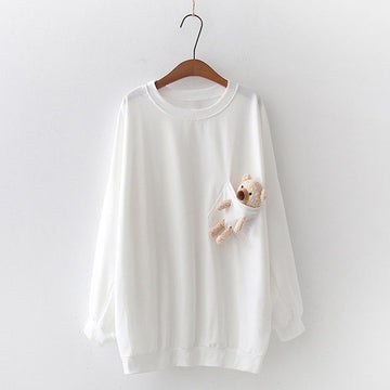 Modakawa Sweatshirt White / One Size Bear Pocket Loose Sweatshirt