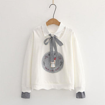 Modakawa Sweatshirt White / One Size Bunny Print Bow Tie Shirt Fake Two-Piece Sweatshirt