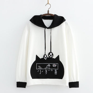 Modakawa Sweatshirt White / One Size Cat Claw Embroidery Hoodie Sweatshirt
