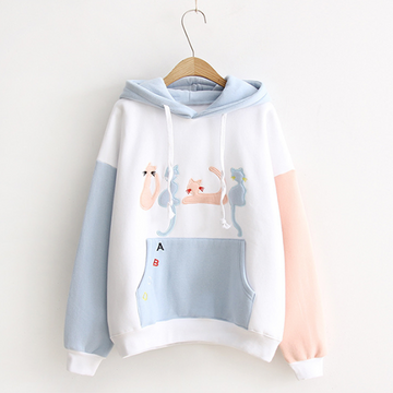 Modakawa Sweatshirt White / One Size Cat Embroidery Velvet Color-block Hoodie