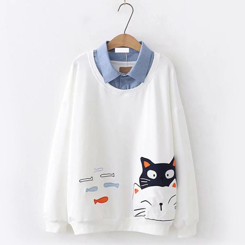 Modakawa Sweatshirt White / One Size Cat Fish Fake Two-Piece Sweatshirt