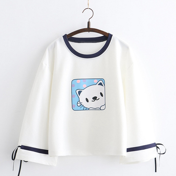 Modakawa Sweatshirt White / One Size Cat Print Bowknot Sleeves Sweatshirt
