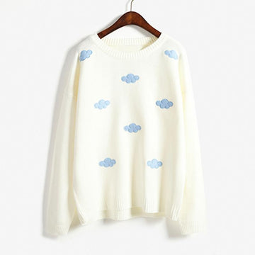 Modakawa Sweatshirt White / One Size Cloud Round Neck Sweater
