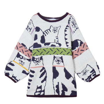 Modakawa Sweatshirt White / One Size Cute Cat Cartoon Loose Sweater