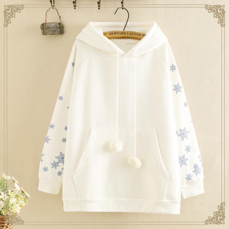 Modakawa Sweatshirt White / One Size Cute Snowflake Print Brushed Hoodie