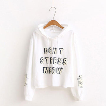 Modakawa Sweatshirt White / One Size DON'T STRESS MEOW Letter Kitty Print Hoodie