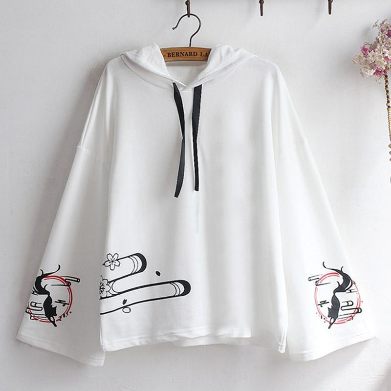 Modakawa Sweatshirt White / One Size Fox Print Loose Sleeve Hoodie
