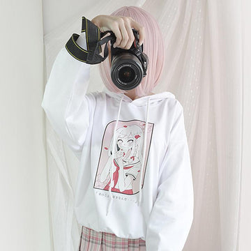 Modakawa Sweatshirt White / One Size Japanese Cartoon Love Confession Girl Print Hoodie