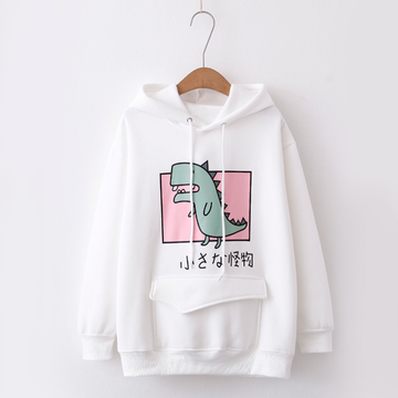 Modakawa Sweatshirt White / One Size Kawaii Dinosaur Front Pocket Hoodie