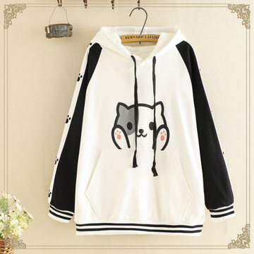 Modakawa Sweatshirt White / One Size Kawaii Kitty Print Student Hoodie